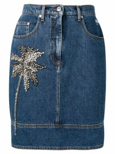 MSGM Palm embellished denim skirt - Blue