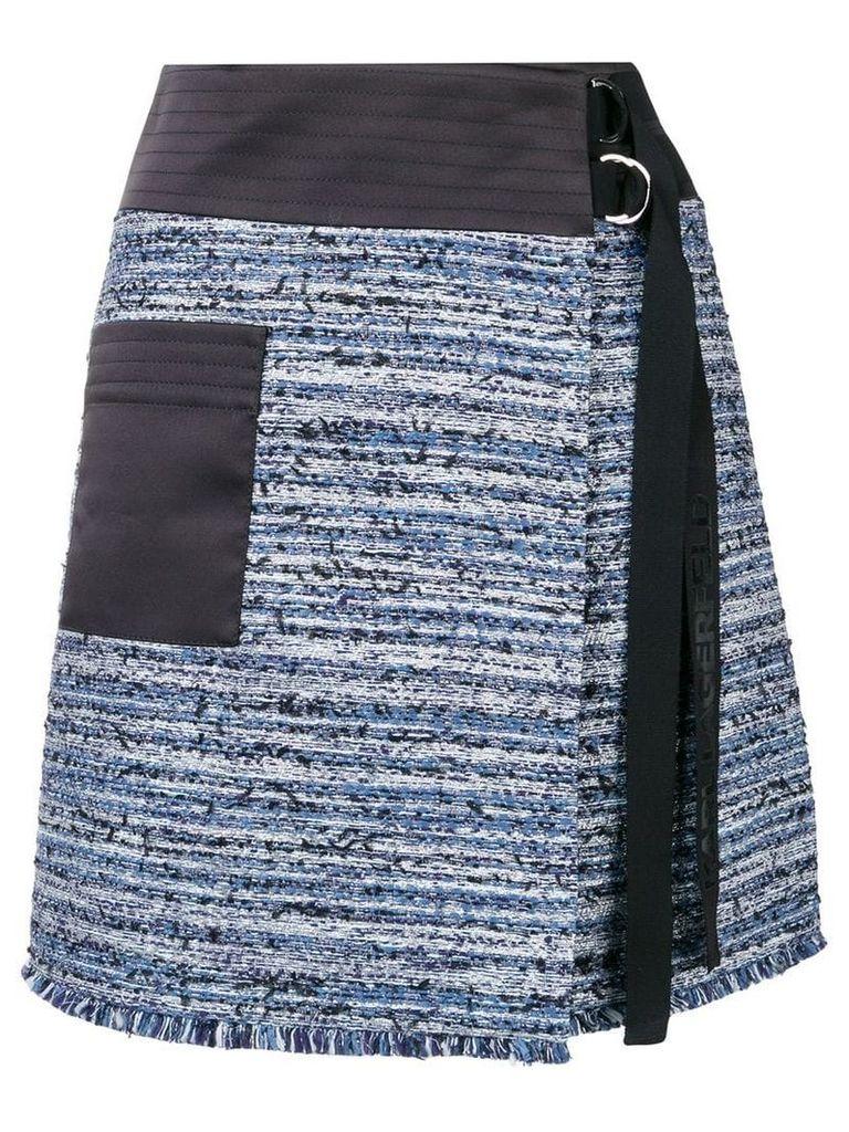 Karl Lagerfeld bouclé wrap skirt - Blue