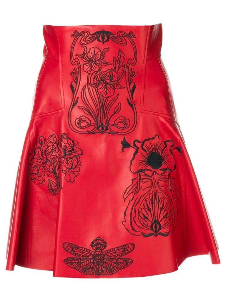 Alexander McQueen embroidered A-line skirt