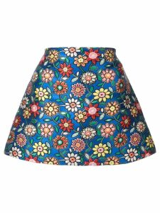 Alice+Olivia floral embroidery short skirt - Blue