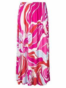 Emilio Pucci Rivera Print Pleated Jersey Maxi Skirt - Pink