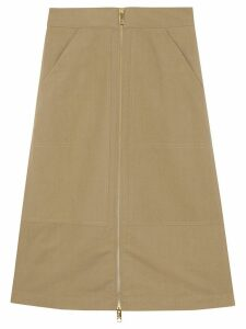 Burberry Cotton Silk High-waisted Skirt - Neutrals