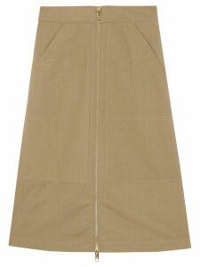 Burberry Cotton Silk High-waisted Skirt - NEUTRALS