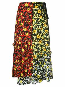 Proenza Schouler Multi Floral Asymmetrical Skirt - Poppy Wildflower