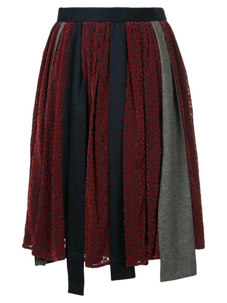 Kolor patchwork asymmetric skirt - Red