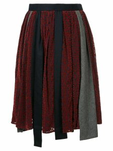 Kolor patchwork asymmetric skirt - Red