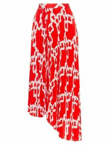 MSGM chain print asymmetric pleated skirt - Red