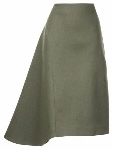 Jil Sander asymmetric flared skirt - Brown