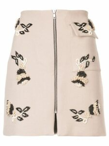 Patbo pearl embellished mini skirt - Brown