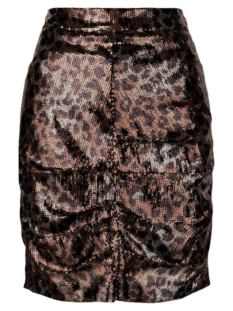 MSGM sequin leopard skirt - Gold