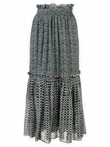 Proenza Schouler Crepe Chiffon Tiered Skirt - Blue