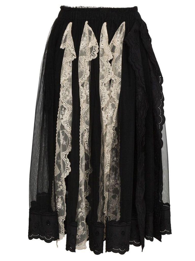 Simone Rocha Pleated lace trim skirt - Black