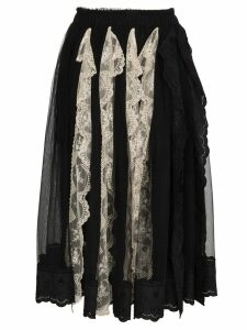 Simone Rocha Pleated lace trim skirt - Black
