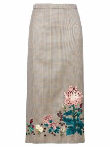 Erdem embroidered check skirt - NEUTRALS
