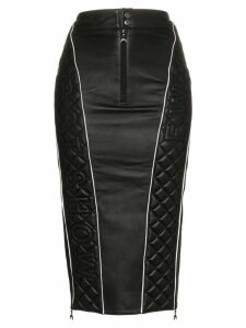 Marine Serre high waisted quilted leather midi skirt - Black