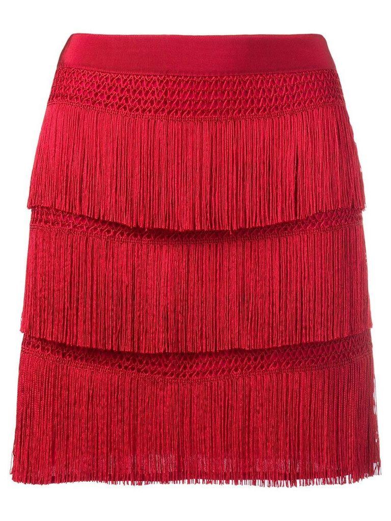 Alberta Ferretti fringe skirt - Red
