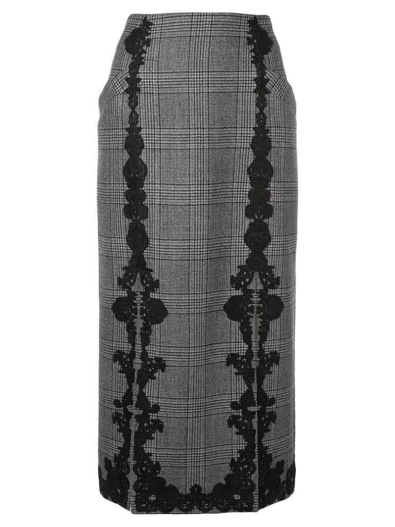 Jonathan Simkhai lace trim Glen check skirt - Grey