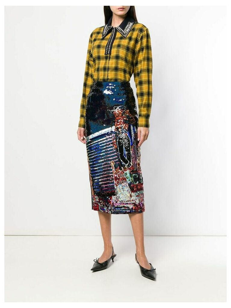 Nº21 Cowboy sequin pencil skirt - Black