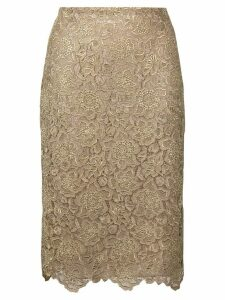 Valentino floral embroidered mesh skirt - GOLD