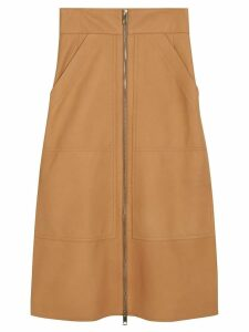 Burberry Lambskin High-waisted Skirt - Neutrals