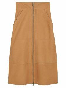 Burberry Lambskin High-waisted Skirt - NEUTRALS