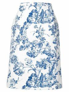 Oscar de la Renta floral print midi skirt - White