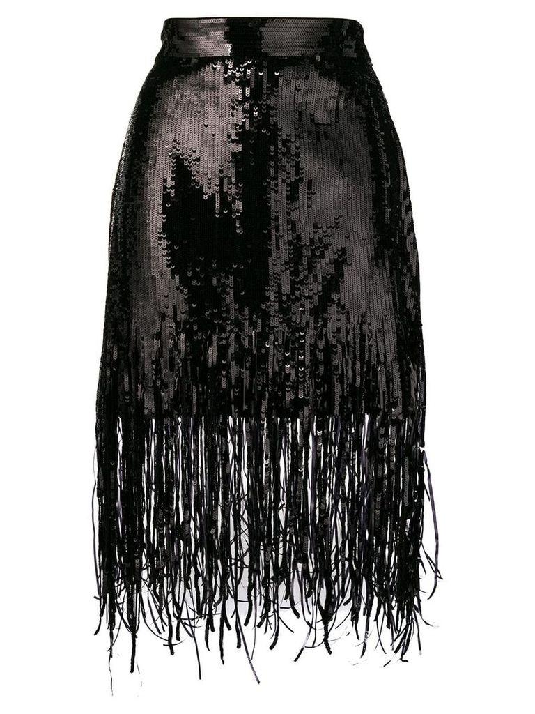 MSGM sequin fringed skirt - Black