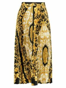 Versace Baroque-print pleat skirt - Black