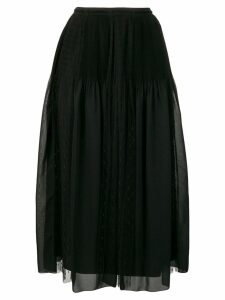 Red Valentino pleat and polka dot panel skirt - Black