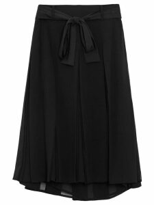 Burberry Tie-waist Pleated Georgette Skirt - Black