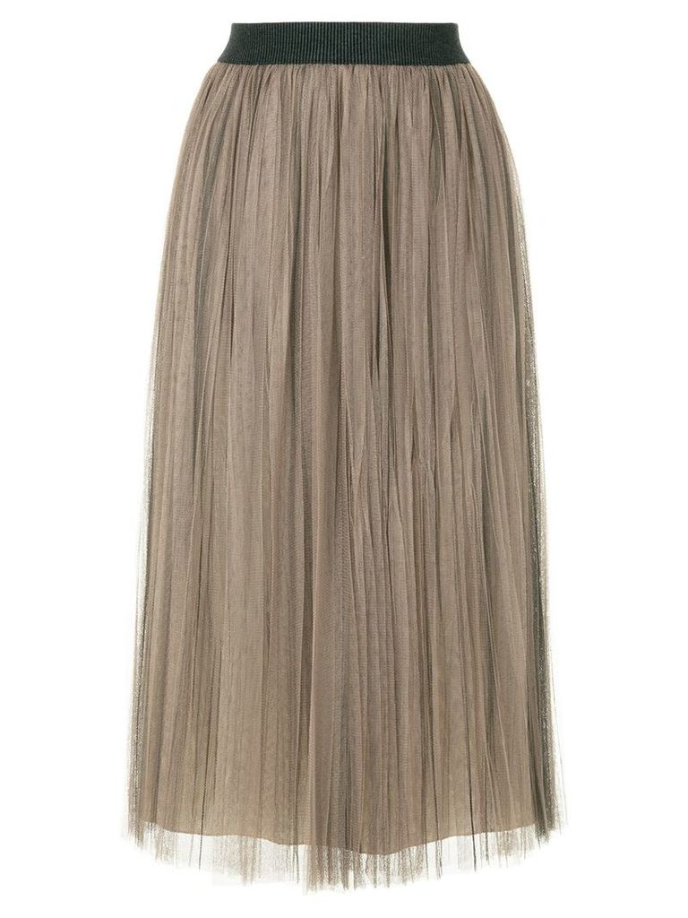 Fabiana Filippi pleated tulle skirt - Brown