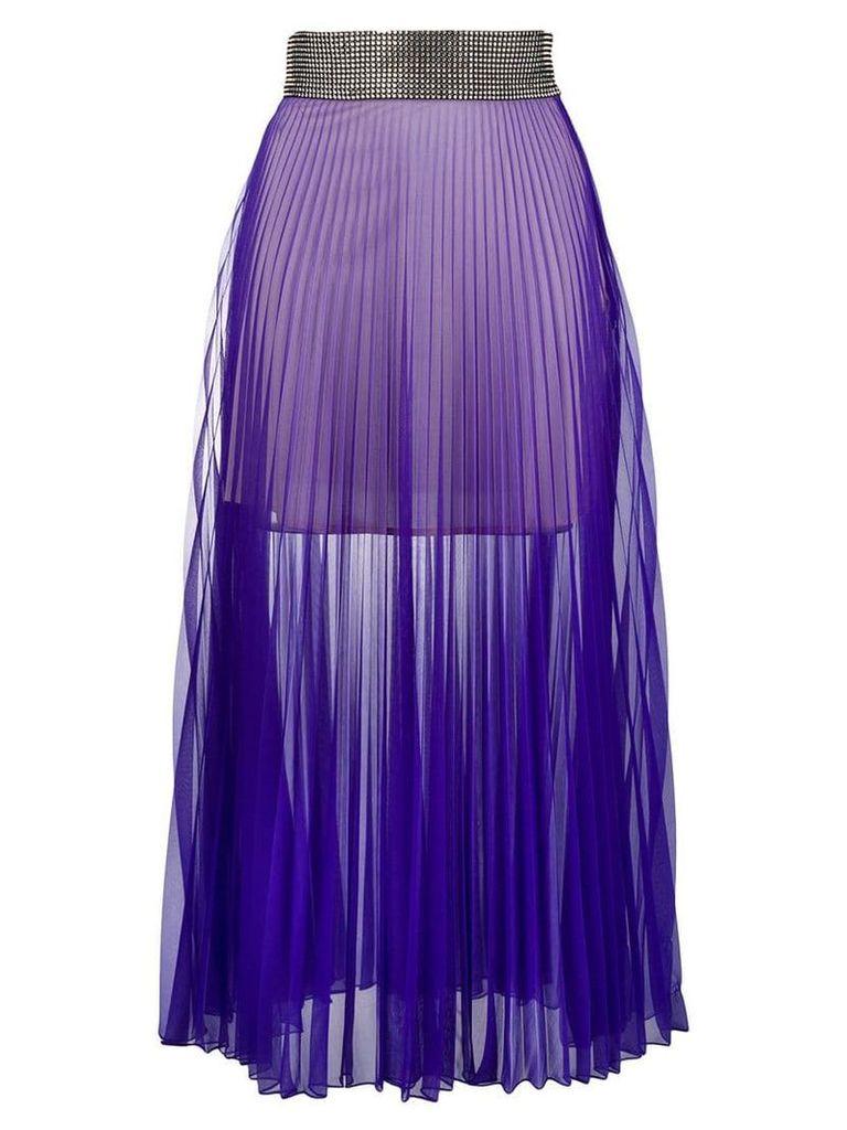 Christopher Kane crystal mesh pleated skirt - Purple