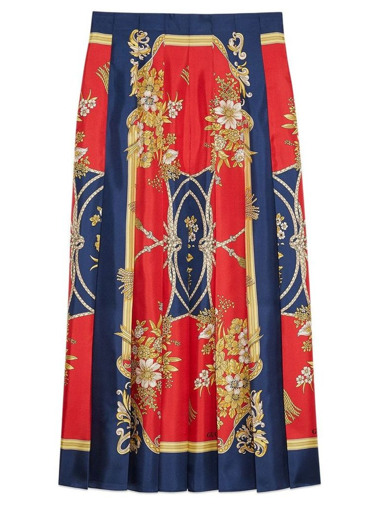 Gucci Silk skirt with flowers and tassels print - Red