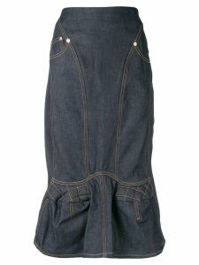 Marine Serre denim straight skirt - Blue