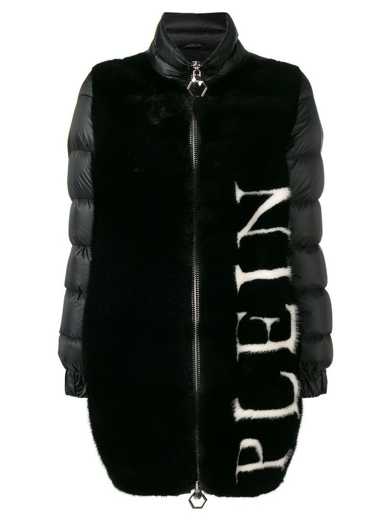Philipp Plein logo padded coat - Black