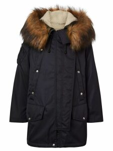 Burberry Faux Fur Trim Parka with Detachable Warmer - Blue