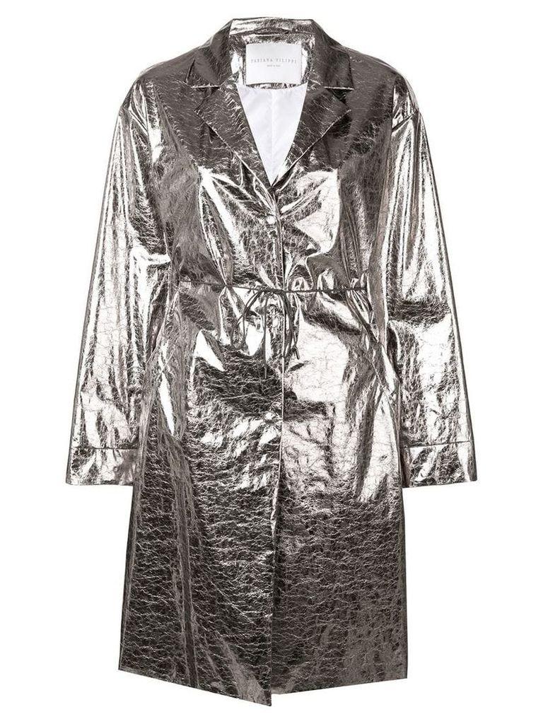 Fabiana Filippi metallic trench coat - Silver