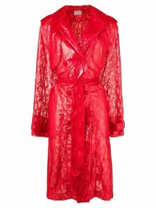 Christopher Kane plastic lace trench coat - Red