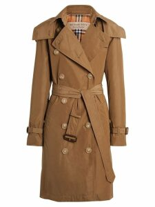Burberry Detachable Hood Taffeta Trench Coat - Brown