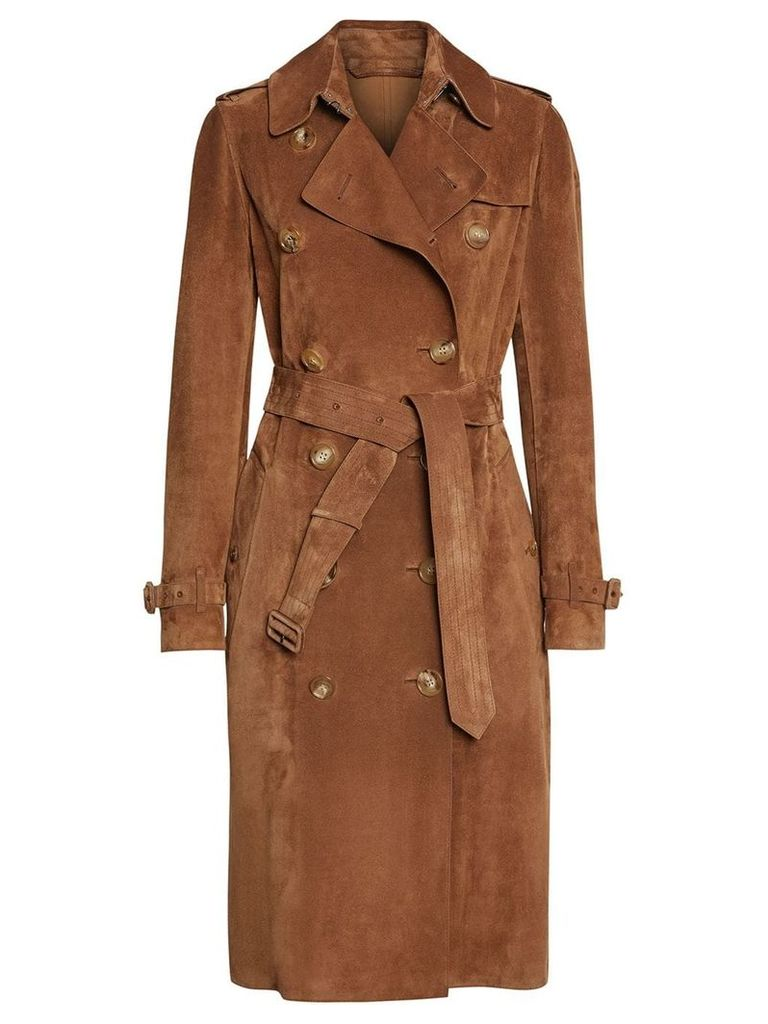 Burberry Suede Trench Coat - Brown