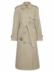 Burberry Grommet Detail Cotton Gabardine Trench Coat - Stone
