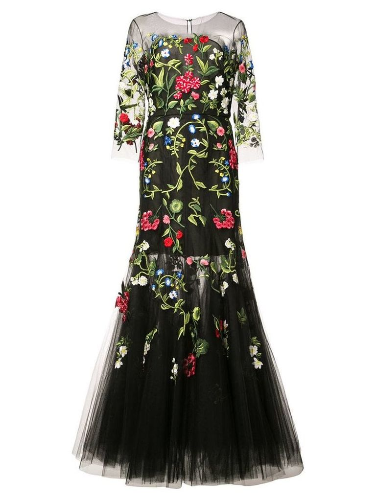 Oscar de la Renta floral embroidered tulle gown - Black