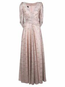 Talbot Runhof metallic draped long dress - Pink