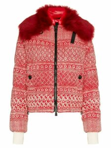 Moncler Grenoble Siusi printed fur trimmed feather down jacket - Red