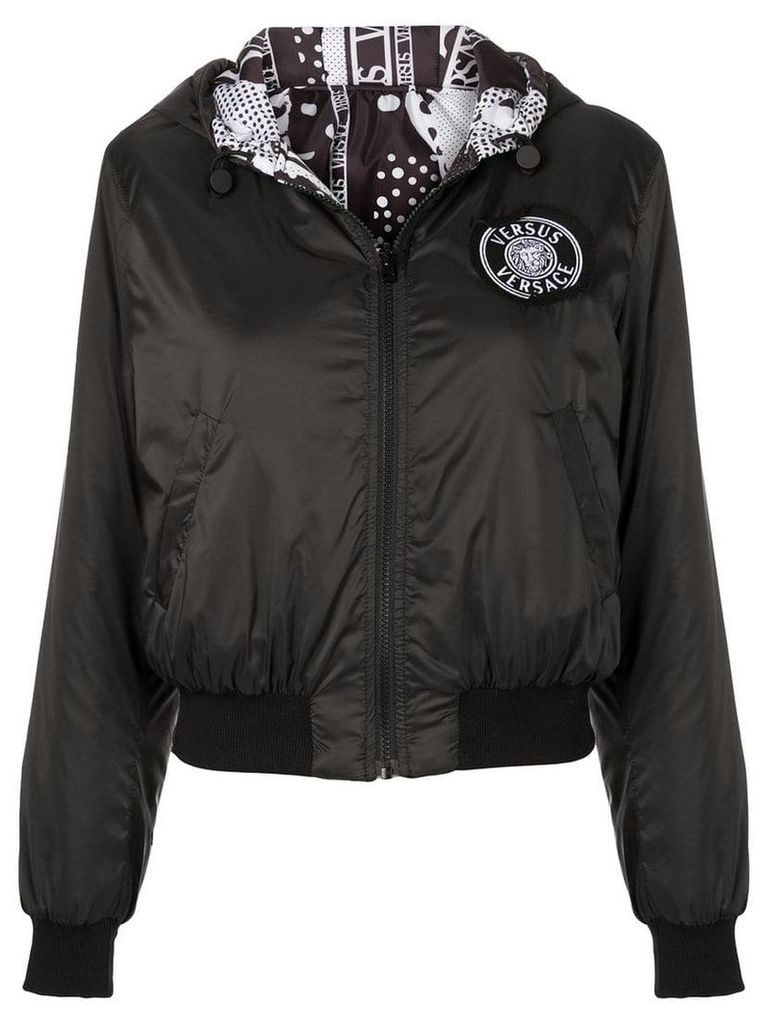 Versus logo patch hooded jacket - Black