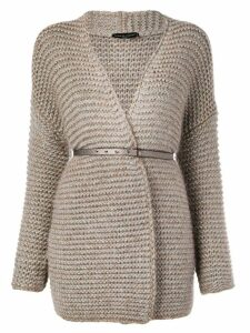 Fabiana Filippi belted knitted coat - Brown