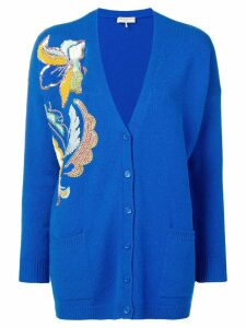 Emilio Pucci Floral Embroidered Cashmere Cardigan - Blue