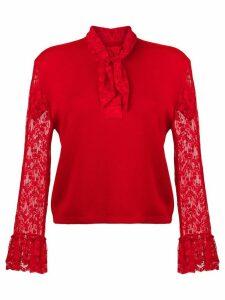 Christopher Kane lace trim cardigan - Red