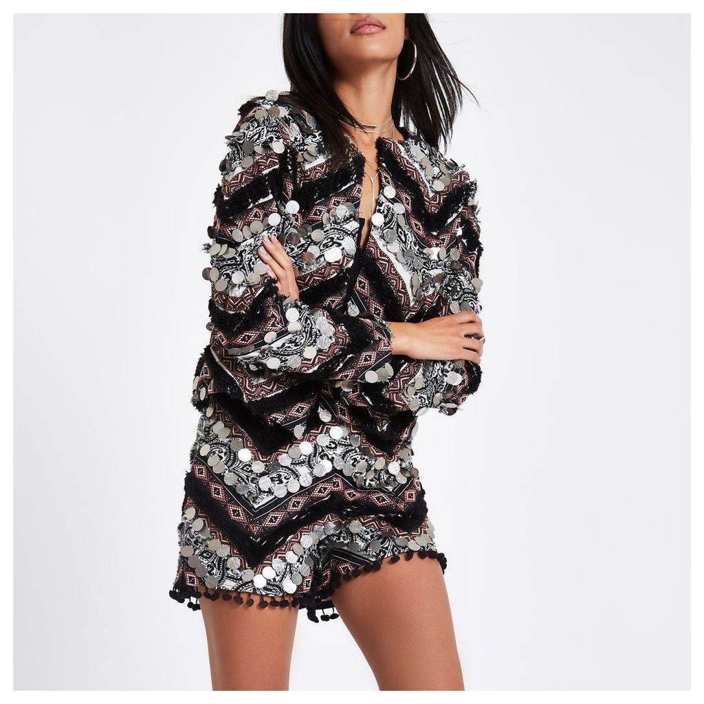 Womens Black print coin trophy jacket