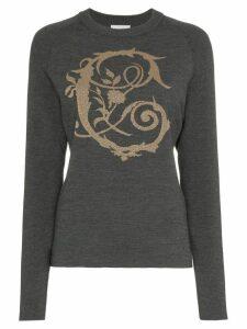 Chloé logo intarsia knitted wool blend jumper - Grey